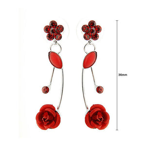 Elegant Red Rose Earrings with Red Austrian Element Crystals and Crystal Glass