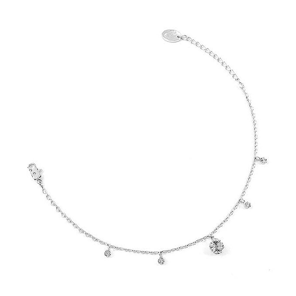 Elegant Ball Anklet with Silver Austrian Element Crystals