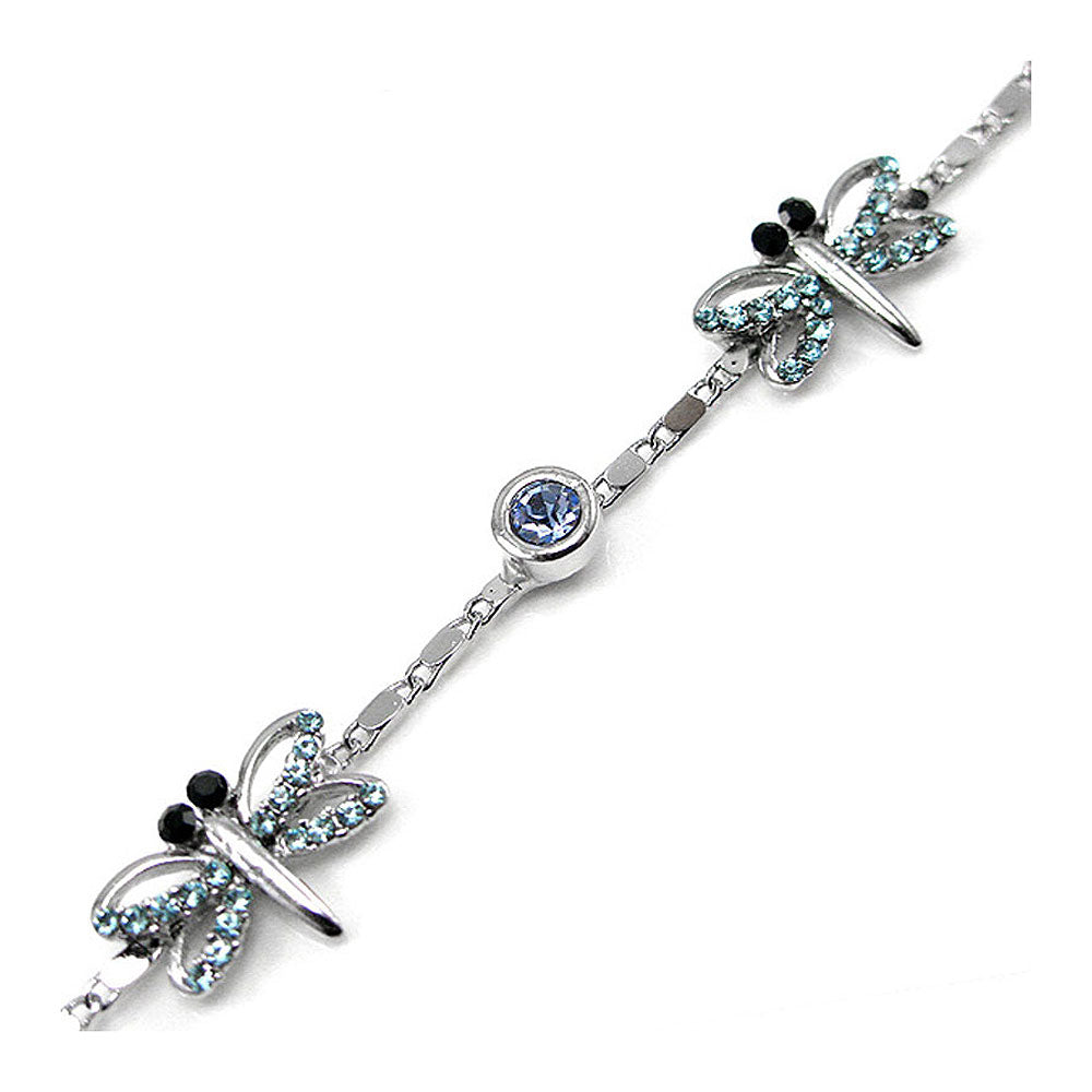Elegant Dragonfly Bracelet with Blue Austrian Element Crystal