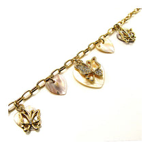Load image into Gallery viewer, Elegant Butterfly Bracelet with Silver Austrian Element Crystal and Shell Charms