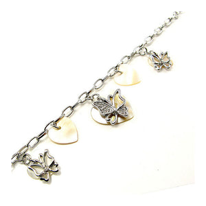 Elegant Butterfly Bracelet with Silver Austrian Element Crystal and Shell Charms