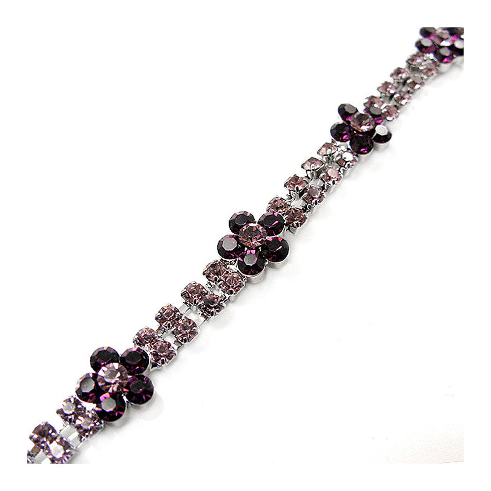 Elegant Flower Bracelet with Purple Austrian Element Crystal