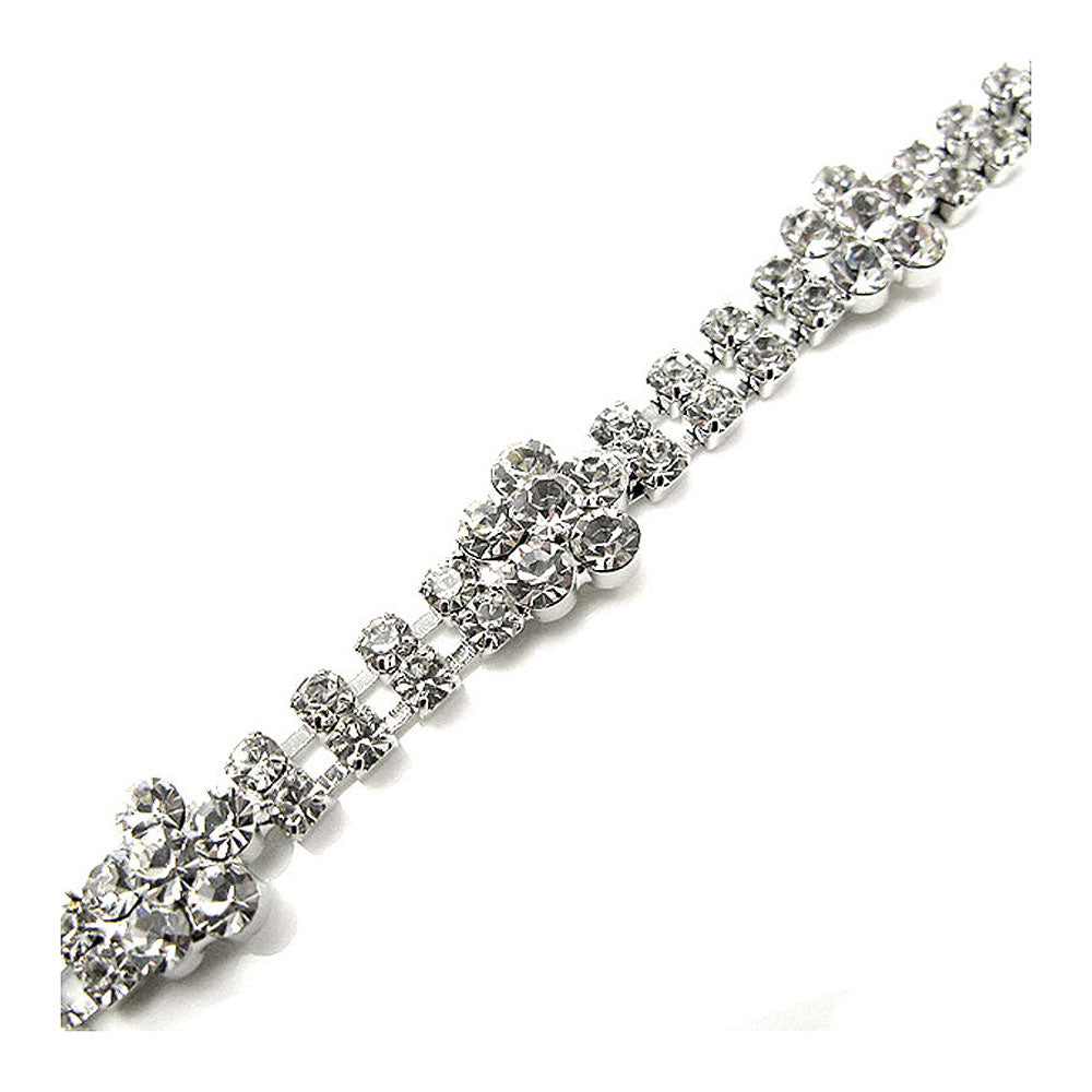 Elegant Flower Bracelet with Silver Austrian Element Crystal