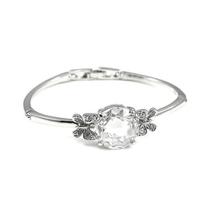 Elegant Butterfly Bangle with Silver Austrian Element Crystal