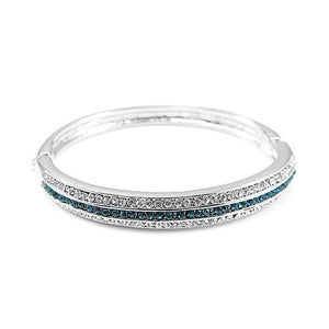 Elegant Bangle with Silver and Blue Austrian Element Crystal