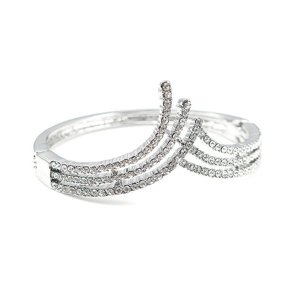Elegant Bangle with Silver Austrian Element Crystal