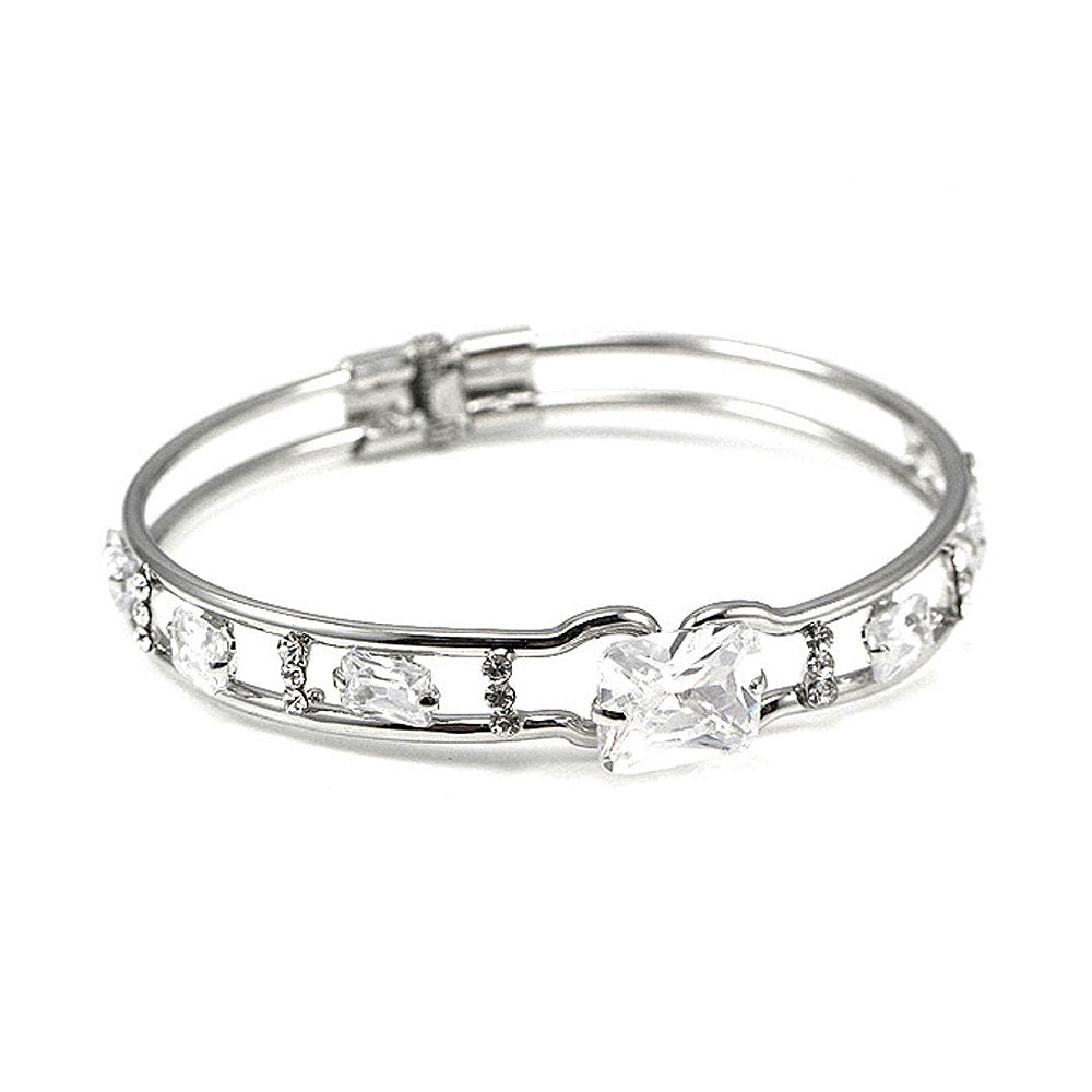 Elegant Bangle with Silver CZ
