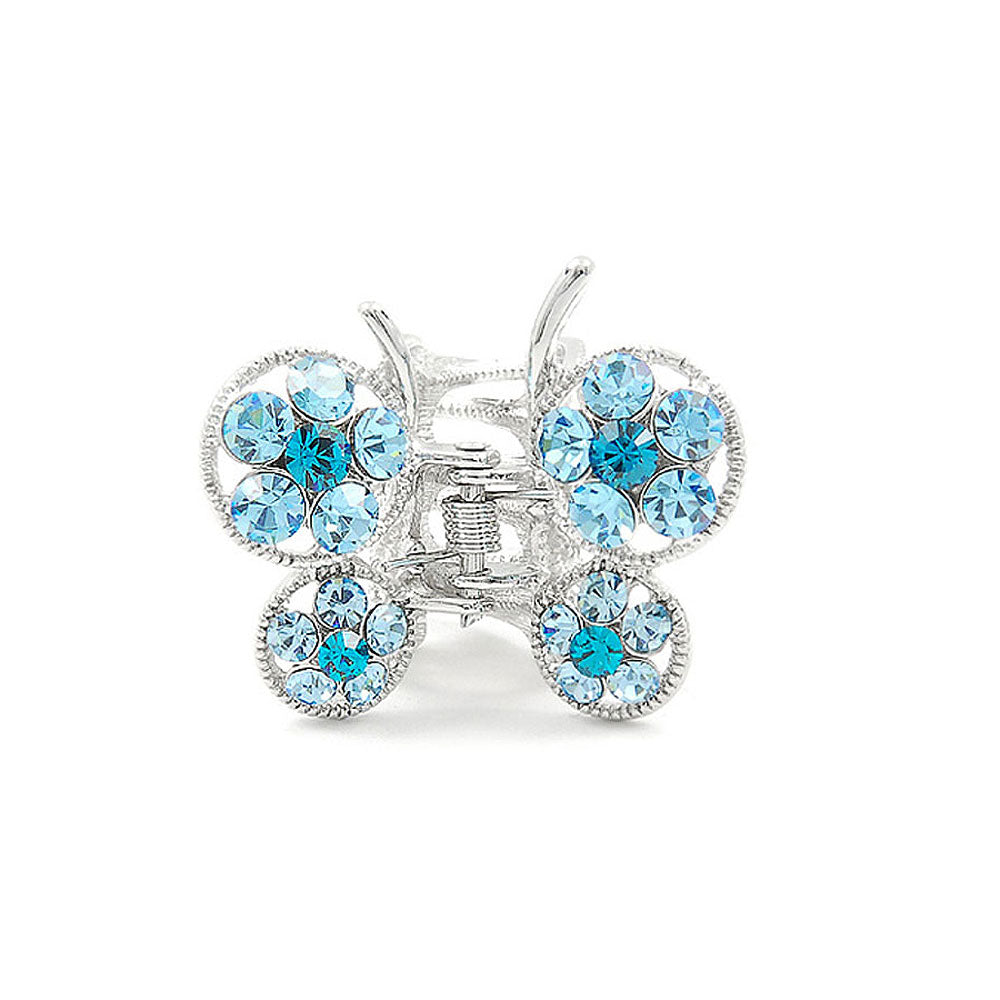 Butterfly Clamp in Blue Austrian Element Crystals