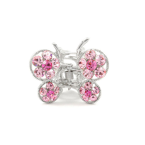 Butterfly Clamp in Pink Austrian Element Crystals