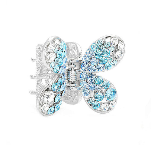 Butterfly Hair Clip in Light Blue and Silver Austrian Element Crystals