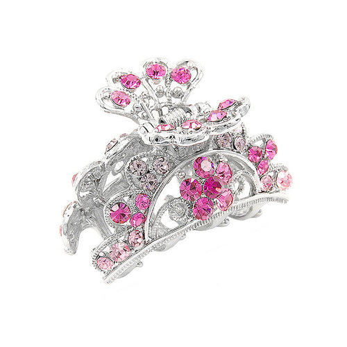 Elegant Clamp in Pink Austrian Element Crystals