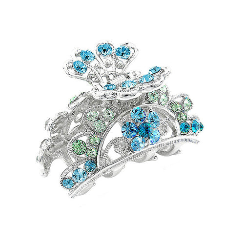 Elegant Clamp with Green and Blue Austrian Element Crystals