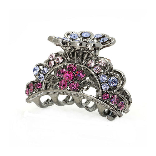 Elegant Hair Clip in Pink and Purple Austrian Element Crystals