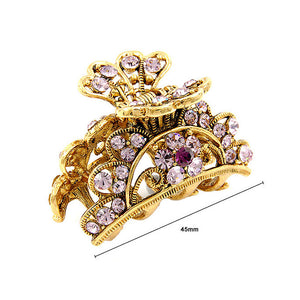 Elegant Clamp in Purple Austrian Element Crystals
