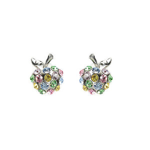 Glistening Apple Earrings with Multi-color Austrian Element Crystals