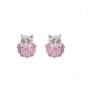 Glistening Apple Earrings with Pink Austrian Element Crystals