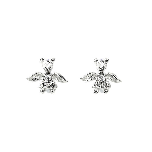 Elegant Angel Earrings with Silver Austrian Element Crystals
