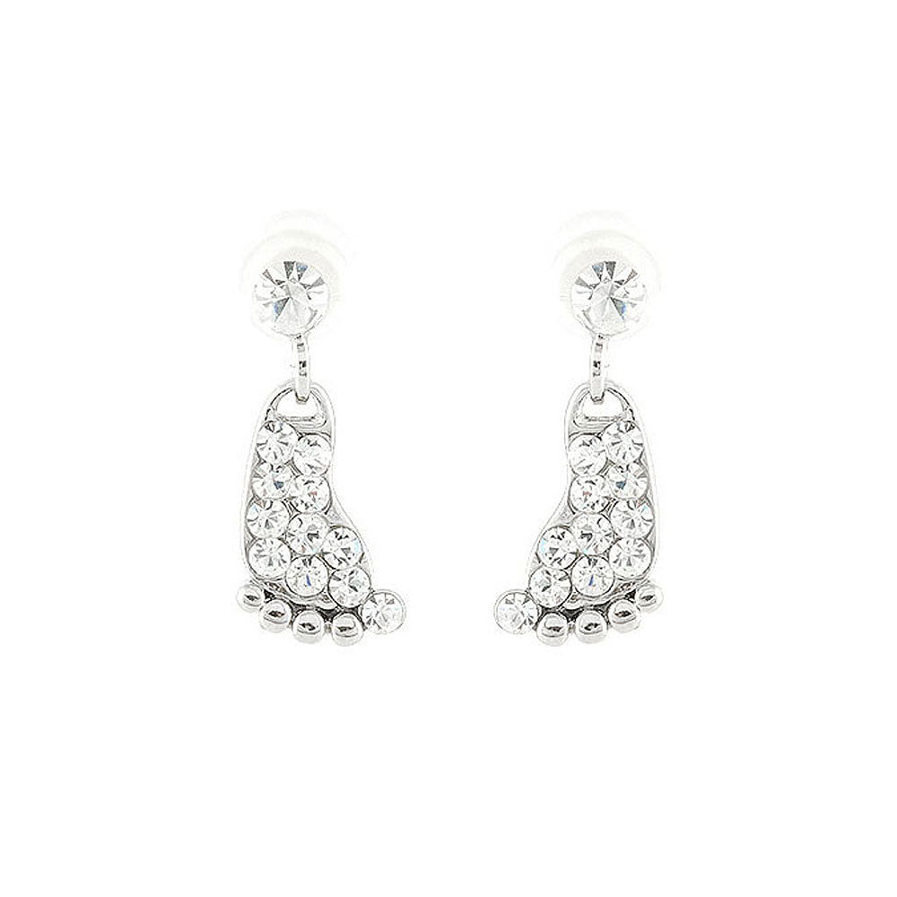Elegant Footprint Earrings with Silver Austrian Element Crystals