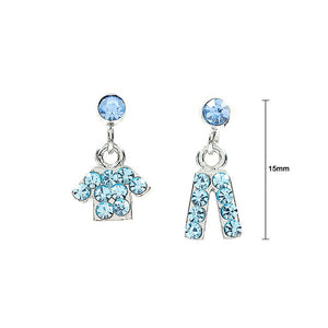 Fancy Clothes and Trousers Earrings with Light Blue Austrian Element Crystals