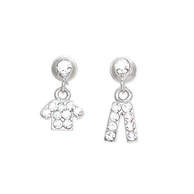 Trendy Top and Pants Earrings with Silver Austrian Element Crystals