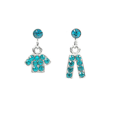 Fancy Clothes and Trousers Earrings with Bright Blue Austrian Element Crystals