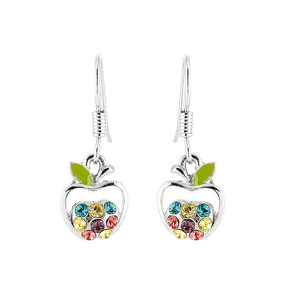 Apple Earrings with Multi Color Austrian Element Crystals
