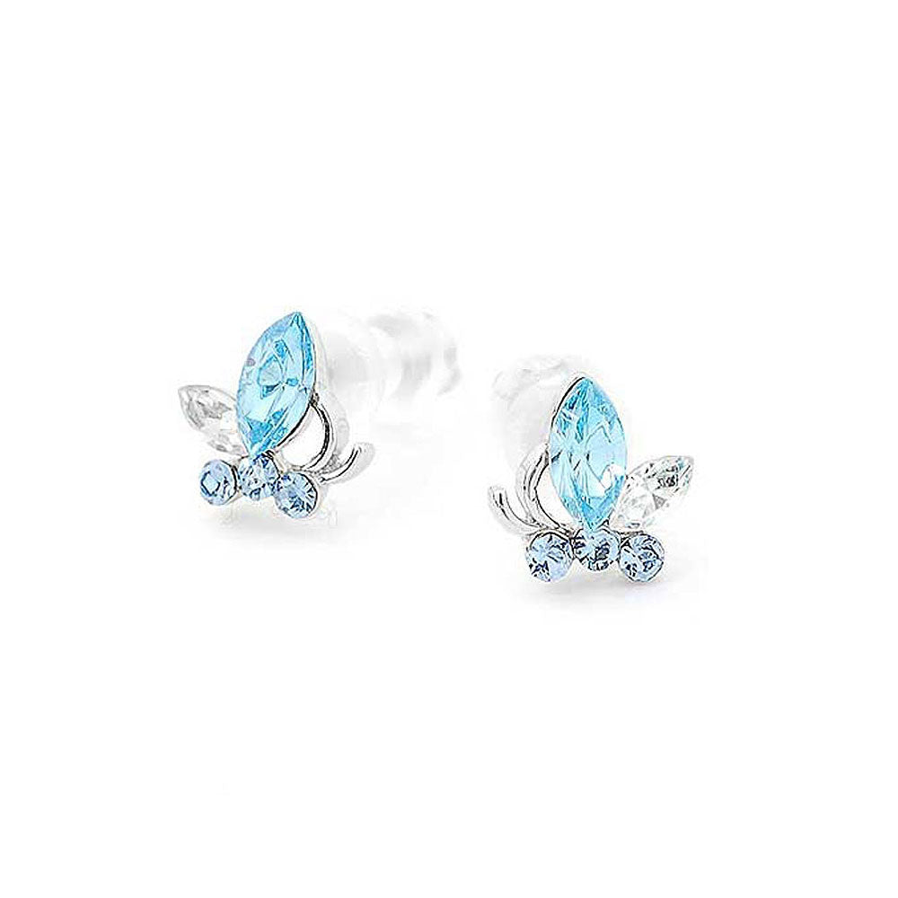 Mini Butterfly Earrings with Light Blue Austrian Element Crystals
