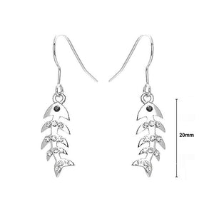 Trendy Fish Earrings with Silver and Black Austrian Element Crystals