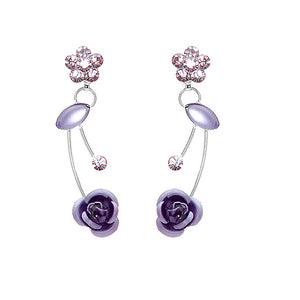 Elegant Purple Rose Earrings with Purple Austrian Element Crystals and Crystal Glass
