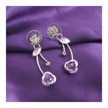 Load image into Gallery viewer, Elegant Purple Rose Earrings with Purple Austrian Element Crystals and Crystal Glass