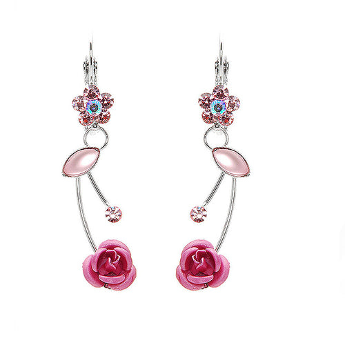 Elegant Pink Rose Earrings with Pink Austrian Element Crystals and Crystal Glass