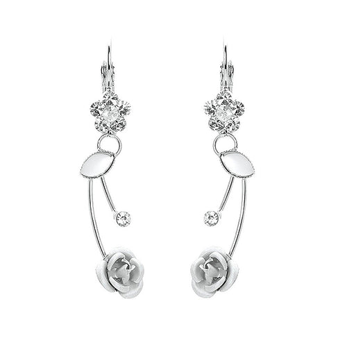 Elegant Silver Rose Earrings with Silver Austrian Element Crystals and Crystal Glass