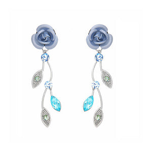 Blue Rose Earrings with Blue Austrian Crystals and Crystal Glass