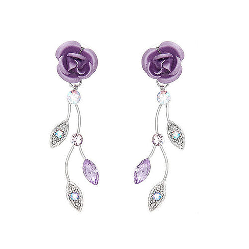 Violet Rose Earrings with Violet Austrian Crystals and Crystal Glass
