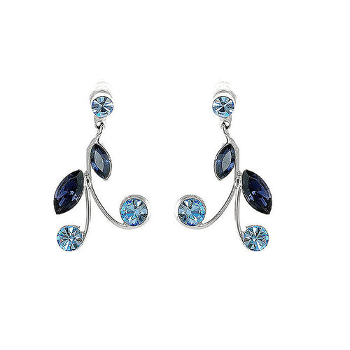Blue Leaves Earrings with Blue Austrian Element Crystals