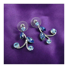 Load image into Gallery viewer, Blue Leaves Earrings with Blue Austrian Element Crystals