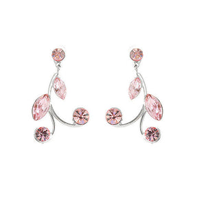 Pink Leaves Earrings with Pink Austrian Element Crystals