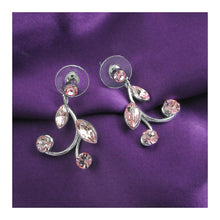 Load image into Gallery viewer, Pink Leaves Earrings with Pink Austrian Element Crystals