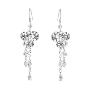 Dazzling Butterfly Earrings with Tassels and silver Austrian Element Crystals