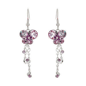 Dazzling Butterfly Earrings with Tassels and Purple Austrian Element Crystals