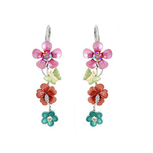 Pink and Blue Flower Earrings with Pink and Silver Austrian Element Crystals