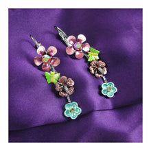 Load image into Gallery viewer, Pink and Blue Flower Earrings with Pink and Silver Austrian Element Crystals