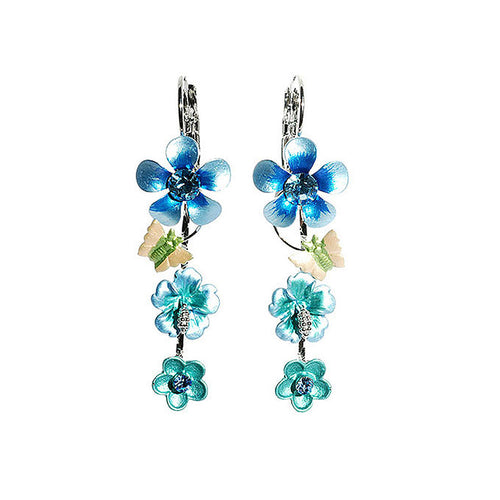 Blue Flower Shape Earrings with Blue Austrian Element Crystals