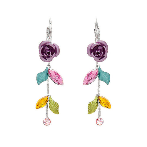 Violet Rose Earrings with Multi-color Austrian Crystals and Crystal Glass