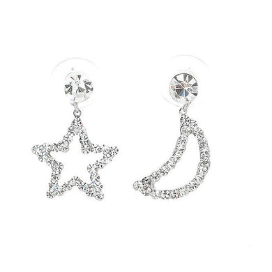 Star & Moon Earrings with Silver Austrian Element Crystals and CZ bead