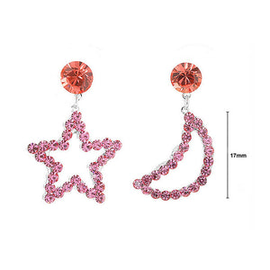 Star & Moon Earrings with Pink Austrian Element Crystals and CZ bead