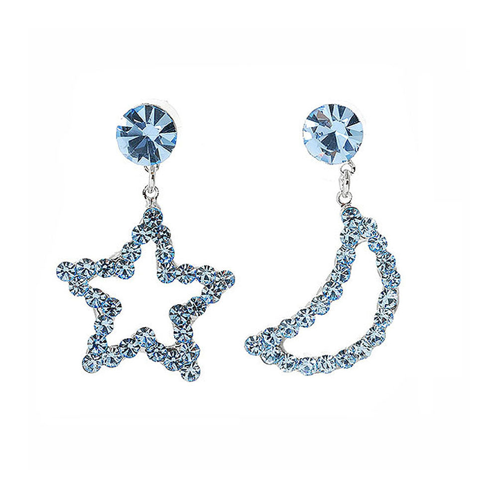 Star & Moon Earrings with Light Blue Austrian Element Crystals and CZ bead