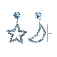 Load image into Gallery viewer, Star & Moon Earrings with Light Blue Austrian Element Crystals and CZ bead