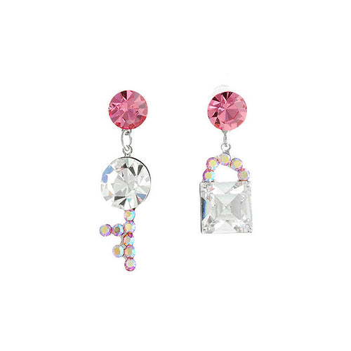 Dazzling Key and Lock Earrings with Peach and Silver Austrian Element Crystals and CZ Beads