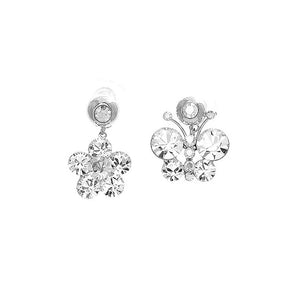 Elegant Butterfly and Flower Earrings with Silver Austrian Element Crystals